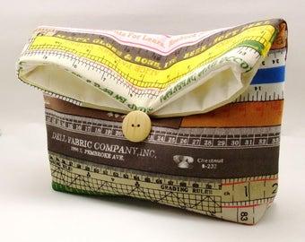 Foldover clutch, Fold over bag, clutch purse, evening clutch, wedding purse, bridesmaid gifts - Measuring tape (Ref. FC77)