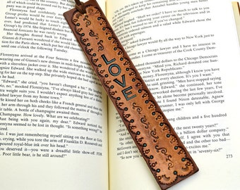 Leather Bookmark LOVE with Stampings Suede Lace