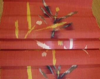 Vintage Japanese Kimono Fabric - (5) pcs. - Lt. Vermillion Red w/ white / Black / Yellow Plant Motif.