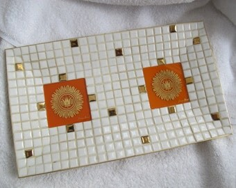 Georges Briard Orange and Gold Mosaic dish / Rectangular ceramic tile mosaic tray