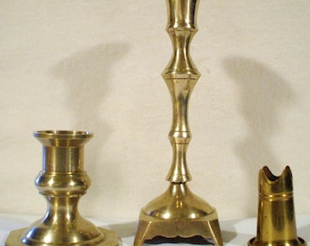 3 Vintage Solid Brass Candle Holders