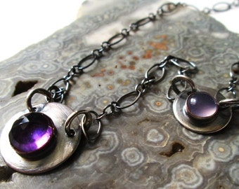 Amethyst and Pink Chalcedony Necklace in Sterling Silver and Copper Jewelry