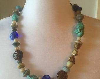 Chunky Bohemian  Turquoise Glass Stone Paper Retro 60s Bead Necklace