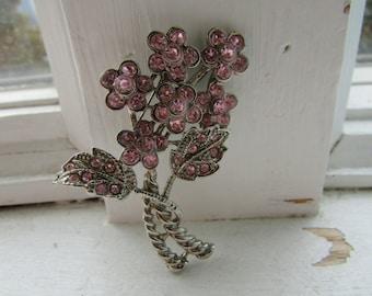 Vintage Pink Rhinestone Bouquet of Flowers Pin Brooch, old jewelry, silver metal, Flower, rhinestones