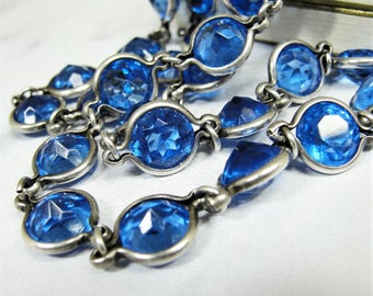 Long Vintage Art Deco Sterling Silver Bezel Set Necklace Sapphire Blue Glass Crystals