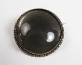 Vintage Sterling Silver Glass Cabochon Circle Pin Brooch England