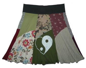 Yin Yang Hippie Skirt XL 1X Women's 16 18 upcycled recycled skirt flattering handmade repurposed clothing Twinkle Skirts Twinklewear