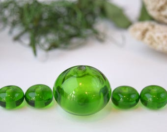 Green transparent hollow bead with 4 small green beads, sra lampwork, murano glass beads, lampwork beads, green murano beads
