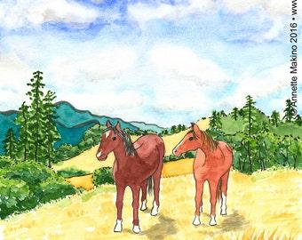 02-118. horse landscape art print