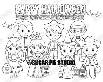 Personalized Printable Halloween Costume kids Birthday Party Favor childrens kids coloring page activity Pdf or Jpeg