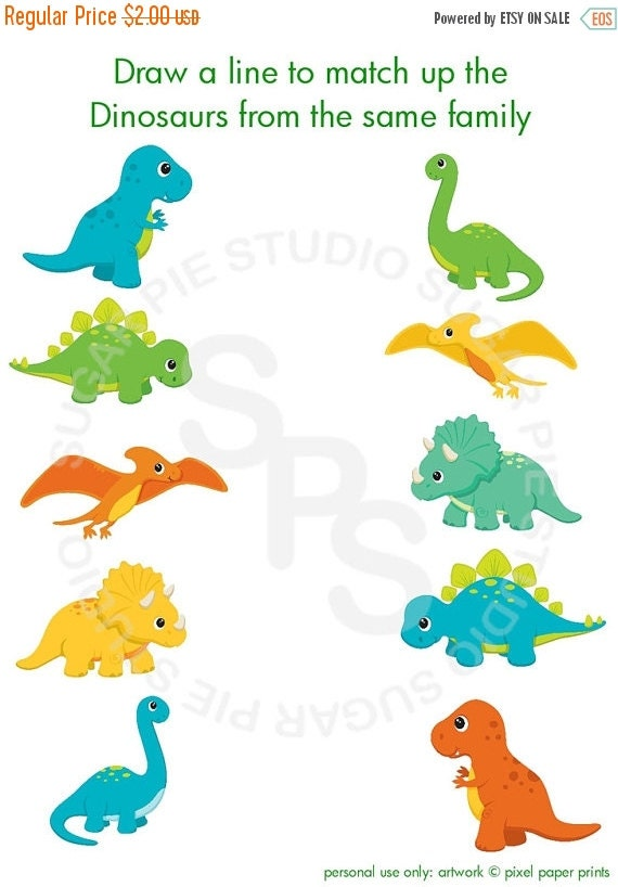 ON SALE Dinosaur triceratops or Any theme Printable Personalized  Activity sheet party favor  Digital Printable DIY file