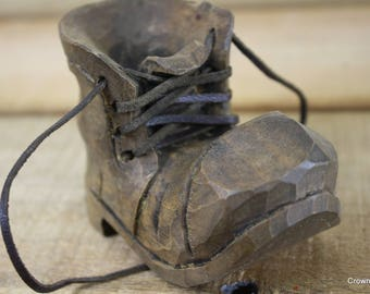Wooden Boot - Hand Carved in the Ozarks - Vintage - Rustic Decor - Small Boot