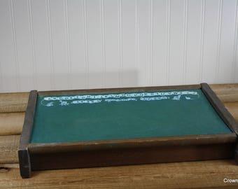 Vintage Kid's Chalkboard - Wooden with Lid - Storage - Aged