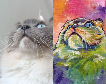 Personalized Pet Painting 8x10 Animal Portrait, Rainbow Painting on Canvas, Cat Art, Dog Lover, Custom Gift for Pet Owners, Colorful Decor