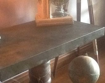 Zinc Oak Console Table
