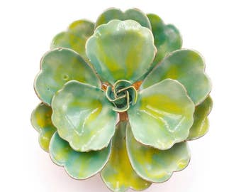 Two Tone Green Teal Flower Pin, 1960s 1970s Metal Enamel Flower Power Brooch, Ruffled Flower Brooch