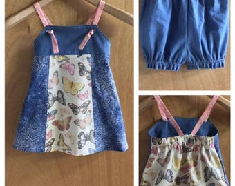 Knot Dress and Bloomers, Boho Style Cotton and Denim, size 18/24 months