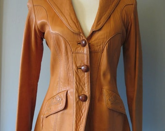 "Vintage 1970's RARE Lambskin East West Musical Instruments Mango Road Inc ""Jasmine"" Jacket, Size L"