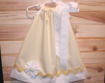 Yellow N White...Girls Pillowcase Dress Infant toddler sizes 0-6, 6-12, 12-18, 18-24 months, 2T, 3T..Bigger sizes AVAILABLE