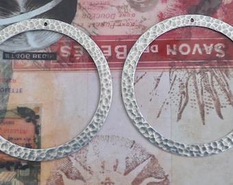 Hammered brass gypsy hoops, earring pendants, Sterling Silver Ox