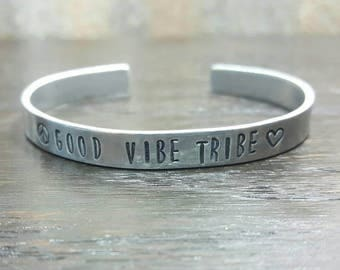 Good Vibe Tribe Hand Stamped Necklace And Bracelet Combo, Peaceful Motivational Jewelry by Miss Ashley Jewelry