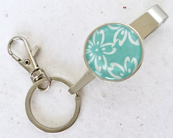 PURSE KEY FINDER Japanese washi Chiyogami handmade paper key chain key hook with lobster clasp (Cherry blossom) with gift envelope