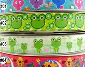 "7/8"" 22mm Mixed Cartoon Printed Frog Dogs Grosgrain Ribbon 5 Yards For Haribow Scrapbook Sewing Embellishment"