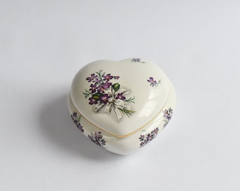 Vintage Trinket Box Fine Bone China - French - Romantic Heart Shape Lovely Floral Design Gold Trim Beautiful Gift Excellent Condition