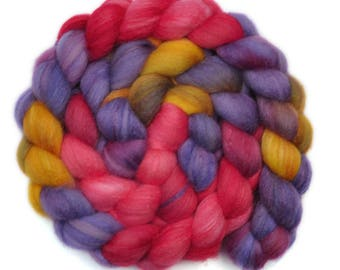 Hand dyed roving - Silk / Polwarth 40/60% wool roving - 4.0 ounces - Geranium Bed 1