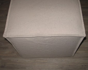 """Square Ottoman Slipcover Made To Order in this Size 16-1/2"""" wide x 16-1/2"""" deep x 16-1/2"""" high - Send Your Own Fabric"""