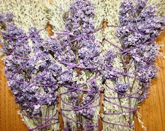 Smudge Bundles, Sage and Lilac Flowers , Hemp String, Smudge Sticks
