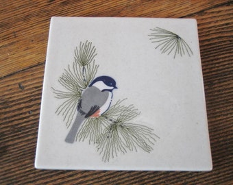 Chickadee Accent Art Tile Cape Shore Yarmouth Me  6X6  Maine State Bird Trivet