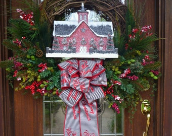 Grapevine HORSE BARN CHRISTMAS Wreath