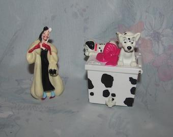 Vintage DIsney 101 Dalmatians PVC Figure Set - Cruella De Vil PVC, McDonalds Gift Box with Puppies - Dalmations
