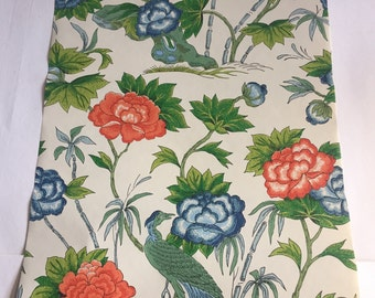 Vintage Wallpaper-1960s Luxurious Floral with Birds by Schumacher-by the yard