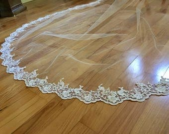 Champagne Cathedral Wedding Veil -Lace Cathedral Veil, Cathedral Lace Veil, Alencon Lace Wedding Veil Cathedral, Bridal Veil Gold Veil Beige