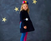 Star Gazer coat jacket for toddlers,children in navy moleskin