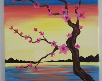 Peaceful day by the lake flowers tree branches swan lake horizon mountains sunset painting