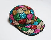 Vintage Sequin Hat. 1990s Hat. Vintage 90s Hat. Flat Brim Hat. Sequin Baseball Hat. Beaded Hat. Sequined Hat. 1980s Vintage Baseball Cap.