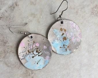 Vintage 80's Paint Splatter Circle Earrings
