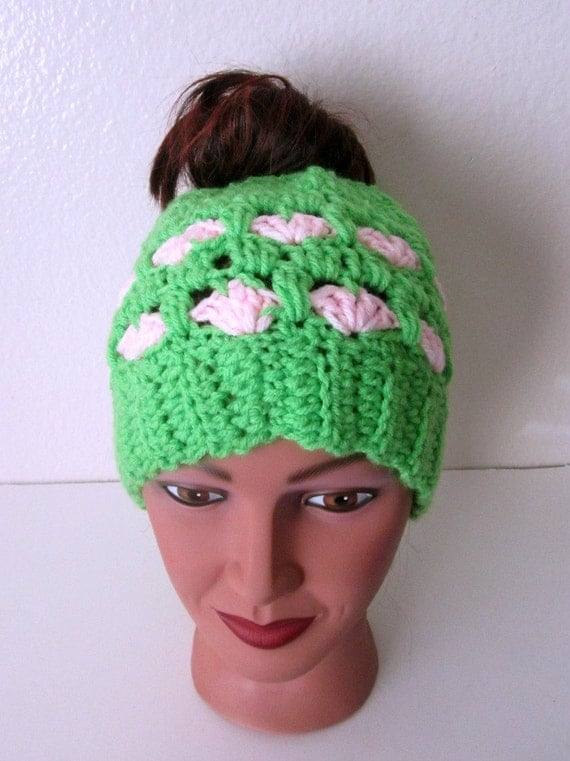 Valentine Messy Bun Hat, Green and Pink Bun Hat,Free Shipping USA