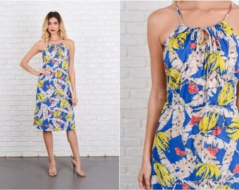 Vintage 70s Blue + Yellow Boho Dress Sundress Floral Leaf Print M L 8582