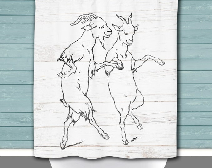 Featured listing image: Goat Shower Curtain: Dancing Goats Rustic Americana Whitewash Wood Look | 12 Eyelets/Button Holes | Size and Pricing via Dropdown