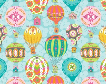 Float Hot Air Balloons on Blue from Blend Fabric's Flutter & Float Collection