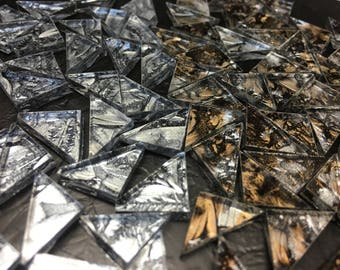 TRIANGLES - SILVER / CHAMPAGNE Van Gogh Glass Tiles B26