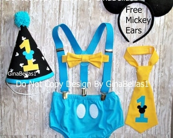 Mickey Mouse Birthday outfit cake smash hat invitation photo blue baby suspenders I am One tie OR Bowtie diaper cover 9 12 18 24 toddler NEW