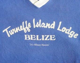 Vintage 80s Turneffe Island Lodge Belize Blue V-Neck T-shirt