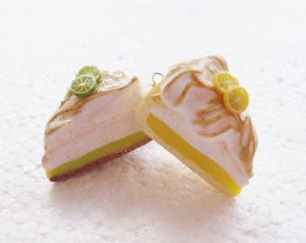 Lemon And Lime Meringue Pie earrings. Polymer clay.