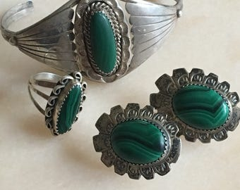 Vintage Malachite Sterling Silver Bundle Possible Zuni Lawrence Ohmasette Earrings with Cuff Bracelet and Ring