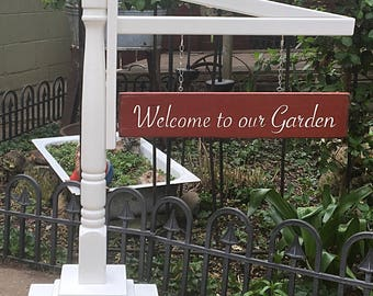 Garden Sign With Sign Post Holder Free Standing Upcycled Hand Painted Porch Decor